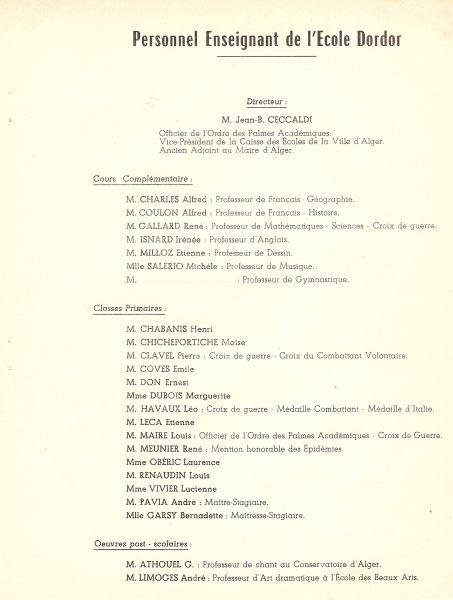 Liste personnel enseignant de l'Ecole Dordor