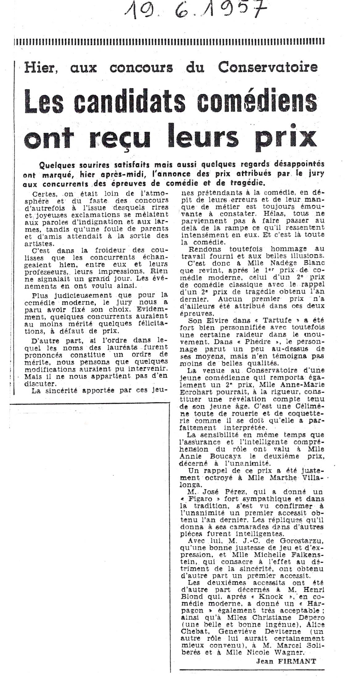 Distribution des prix du Conservatoire - 1957