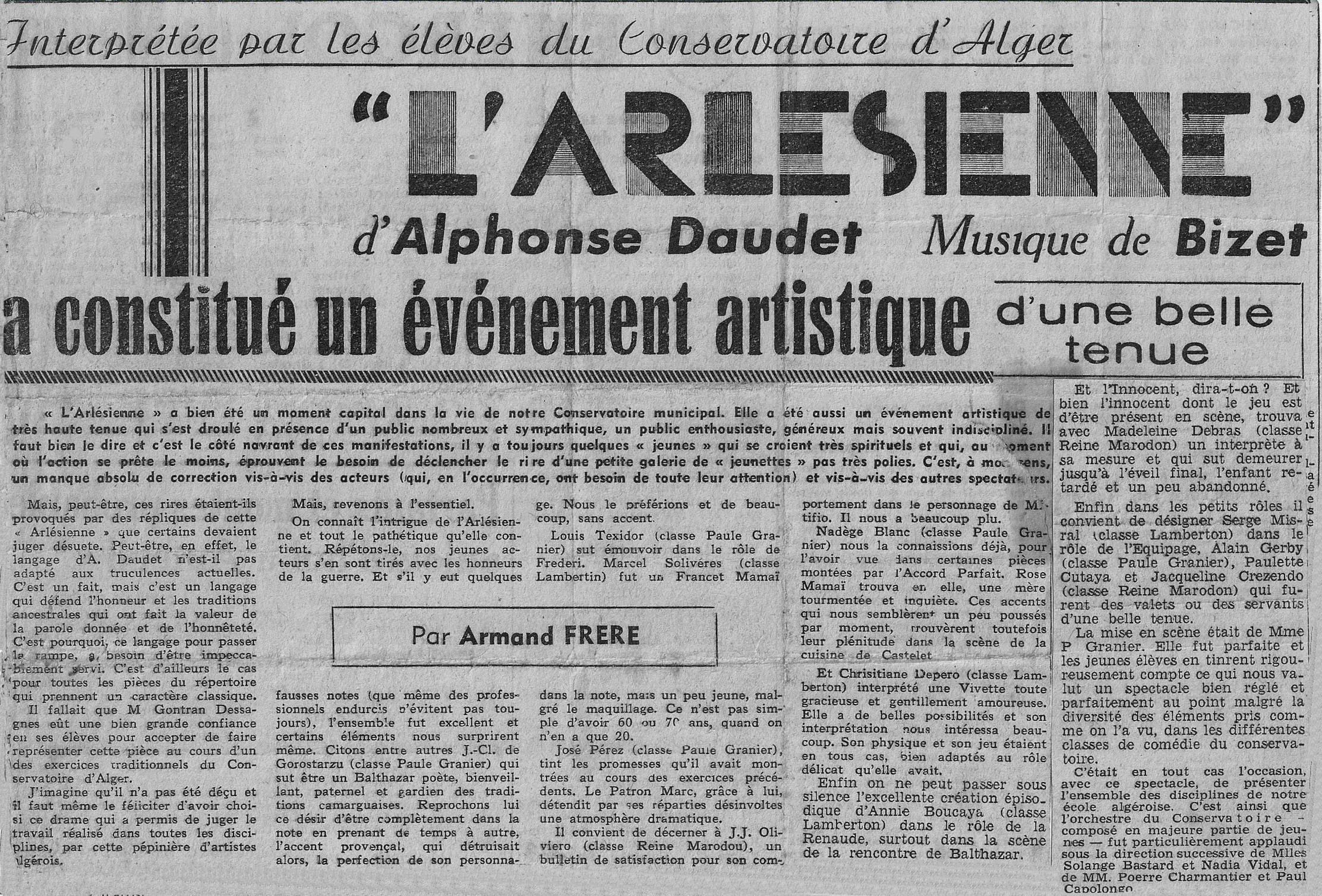 L'Arlésienne par le Conservatoire d'Alger - 1958
